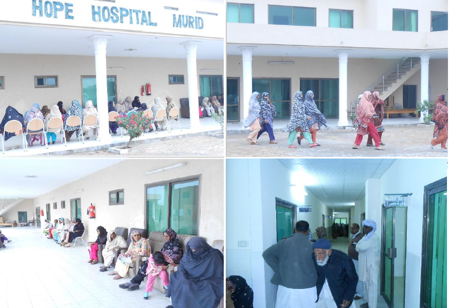 Patients waiting at the Eye and Health Clinic